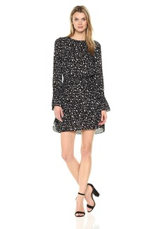 Ellen Tracy Women's Crew Neck Dress with Dring Belt Starry Night