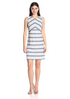 Ellen Tracy Women's Directional Stripe Dress with Seaming Detail
