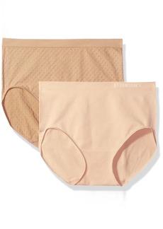 Ellen Tracy Women's Dot Jacquard Full Brief Panty 2 Pack  M