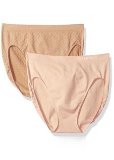 Ellen Tracy Women's Dot Jacquard Hi Cut Panty 2 Pack  M
