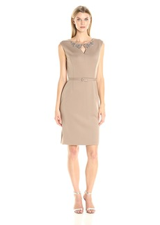 ELLEN TRACY Women's Dress with Embellished Neckline