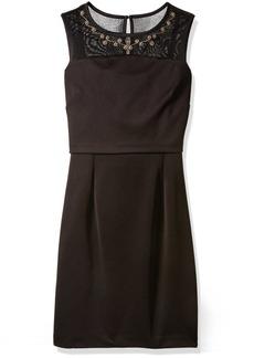 Ellen Tracy Women's Dress with Gold Embellished Neckline