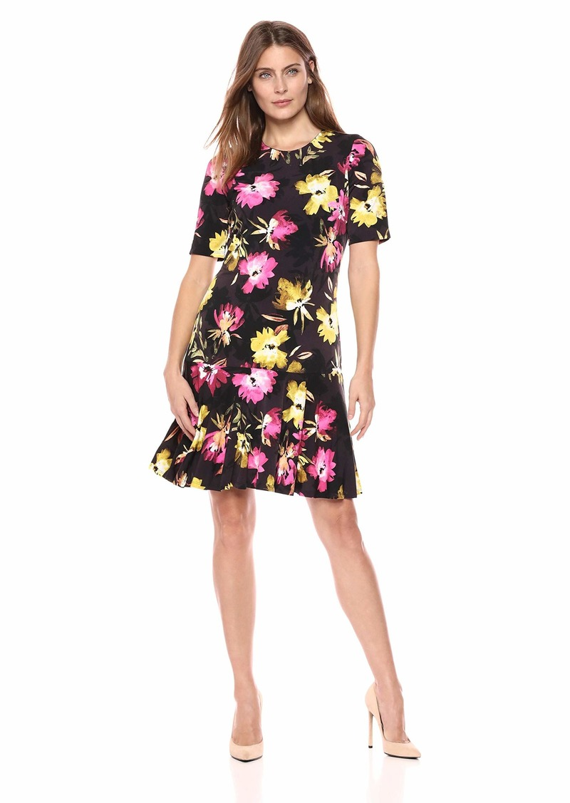 ELLEN TRACY Women's Elbow Sleeve Dress with Flounce Hem Rainbow FLWRS/Multi L