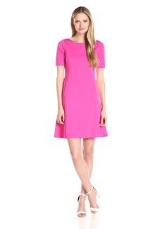 Ellen Tracy Women's Elbow Sleeve Flounce Dress  M