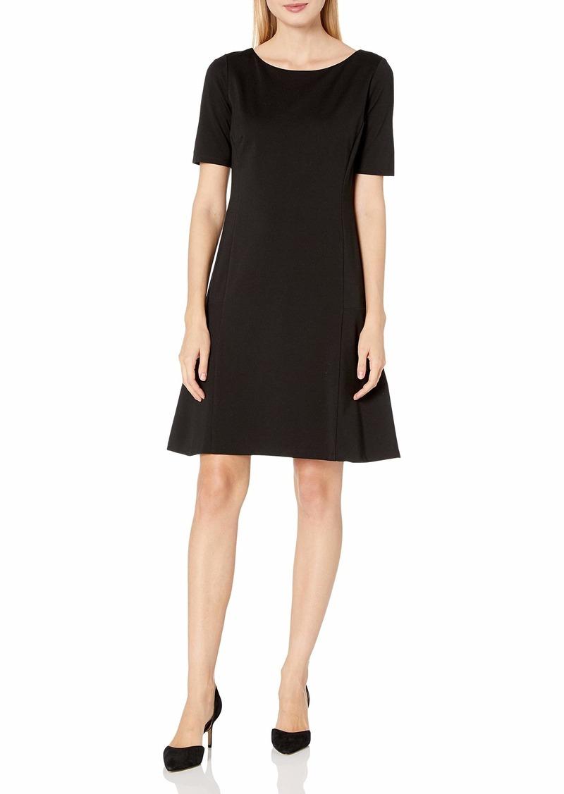 ELLEN TRACY Women's Elbow Sleeve Flounce Dress  S
