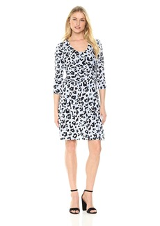 Ellen Tracy Women's Elbow Sleeve Side Twist Dress  M