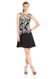Ellen Tracy Women's Emboridered Crepe Occasion Dress