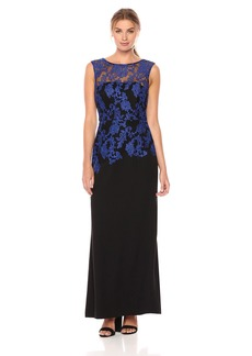 ELLEN TRACY Women's Embroidered Crepe Cobalt and Black Cocktail Dress