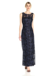 ELLEN TRACY Women's Embroidered Gown with Illusion Detail