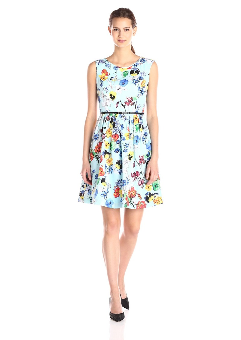 ELLEN TRACY Women's Fit-and-Flare Aqua Ground Floral-Print Dress Multi