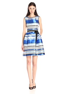 Ellen Tracy Women's Fit and Flare Stripe Sleeveless Dress