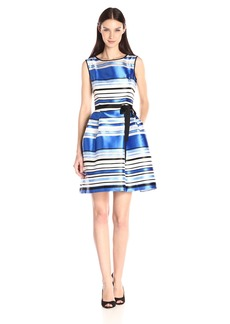 ELLEN TRACY Women's Fit and Flare Stripe Sleeveless Dress