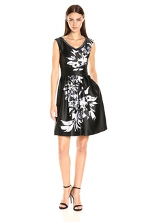 Ellen Tracy Women's Floral Beaded Party Dress Black/Ivory