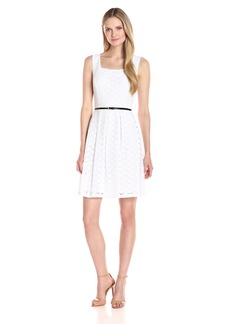 ELLEN TRACY Women's Floral Eyelet Midi Dress with Belt