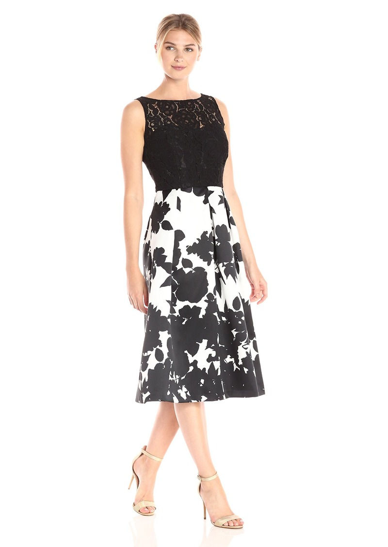 Ellen Tracy Women's Floral Print Black White Occasion Dress Black/Ivory