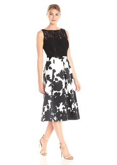 Ellen Tracy Women's Floral Print Black and White Occasion Dress Black/Ivory