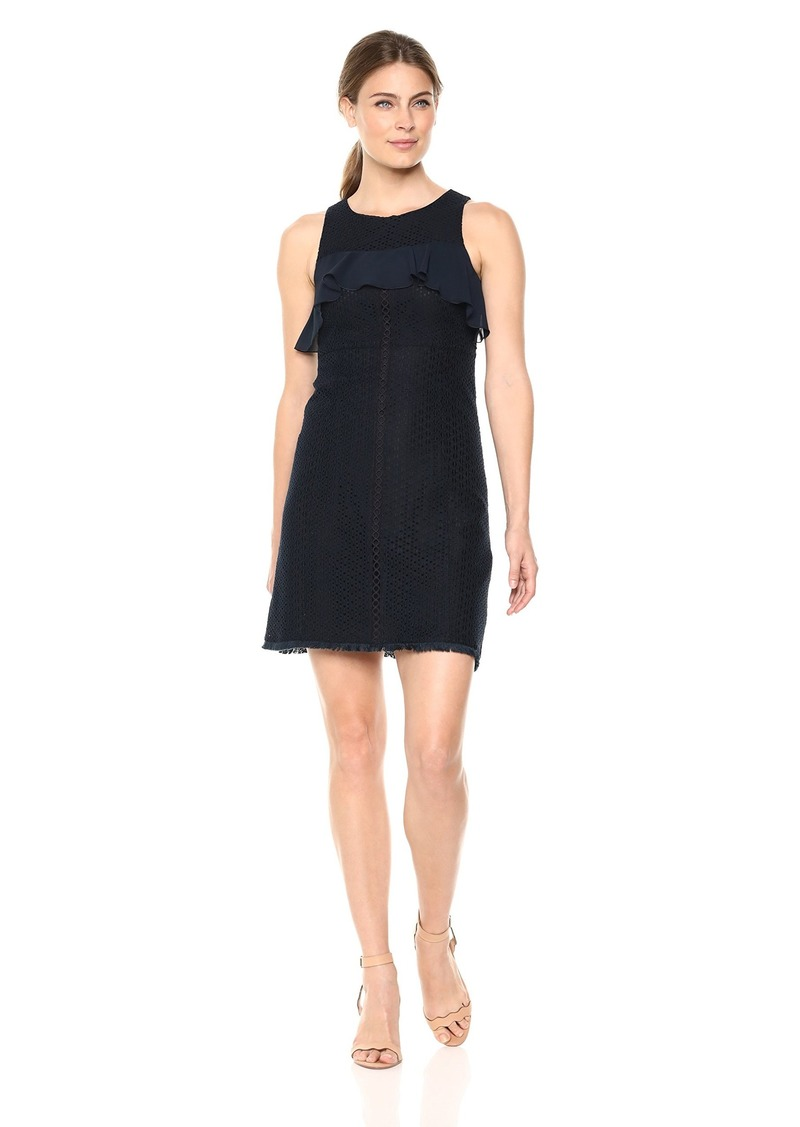 ELLEN TRACY Women's Flounce Yoke Fit and Flare Dress
