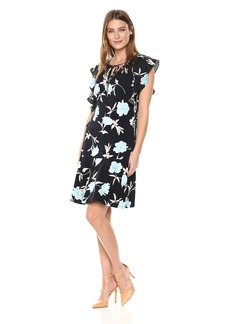 ELLEN TRACY Women's Flouncy Sleeve Dress Premiere Fleur-Ngt XL