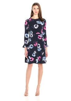 Ellen Tracy Women's Flutter Sleeve Dress  M
