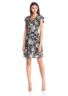 Ellen Tracy Women's Flutter Sleeve Knit Dress