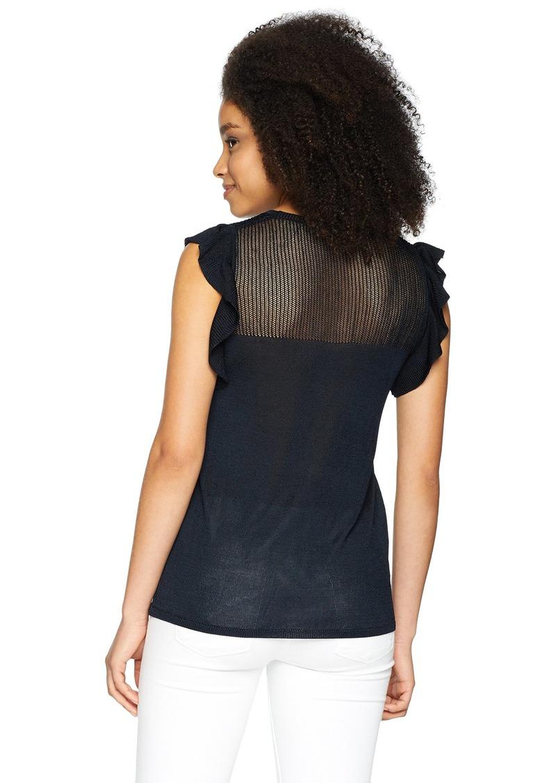 ELLEN TRACY Women's Fluttered Cold Shoulder Top  M