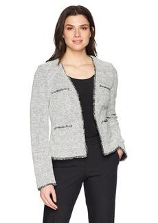 ELLEN TRACY Women's Fringe Trimmed Jacket  M