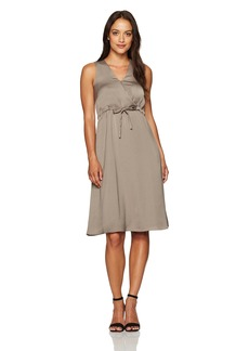 ELLEN TRACY Women's Front Tie Wrap Dress sea Grass