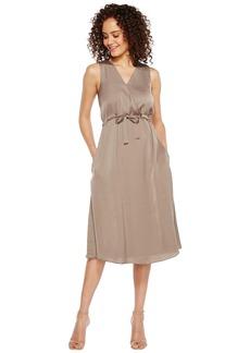 ELLEN TRACY Women's Front Tie Wrap Dress sea Grass