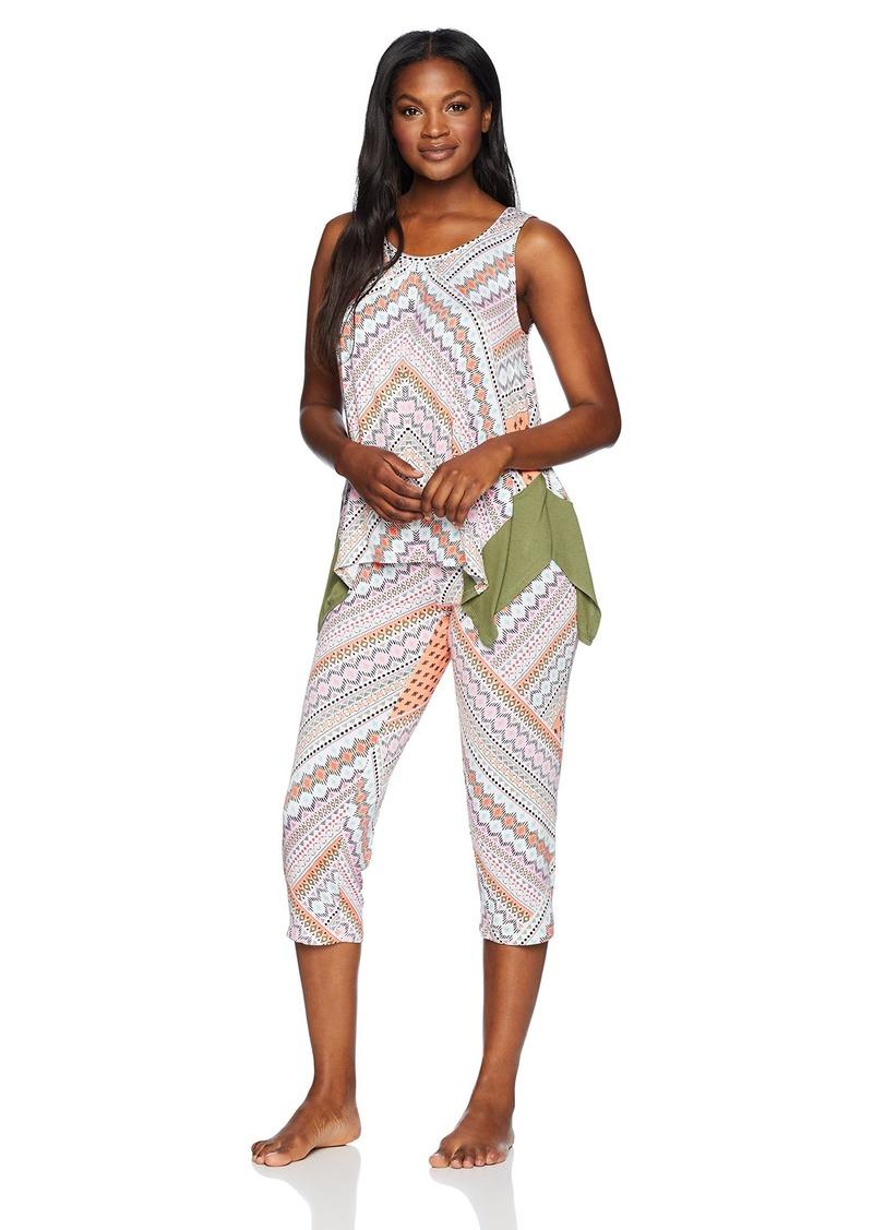ELLEN TRACY Women's Geo Tank Pajama Set Mini Patchwork L