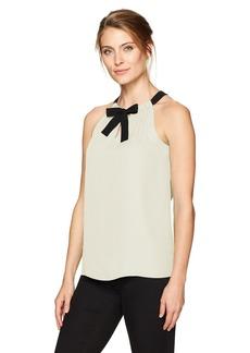 ELLEN TRACY Women's Georgette Tie Neck Halter el/Cream L