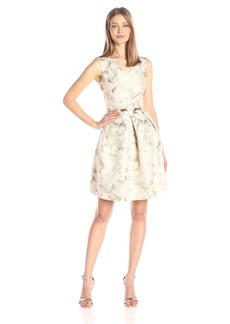 Ellen Tracy Women's Gold Belted Jacquard Fit and Flare Dress