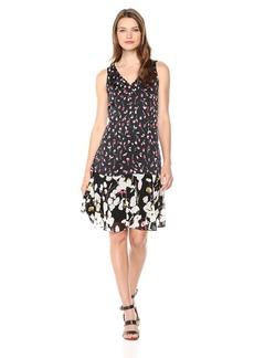 ELLEN TRACY Women's Handkerchief Hem Sleeveless Dress Cherries/Cardinal cm