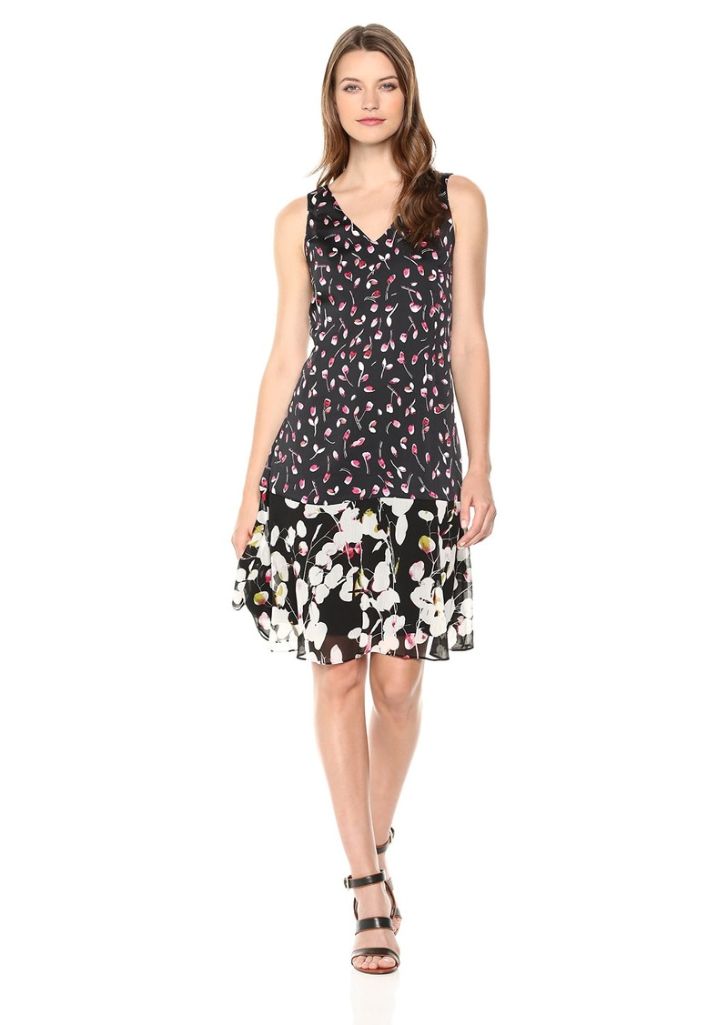 ELLEN TRACY Women's Handkerchief Hem Sleeveless Dress Cherries/Cardinal cm