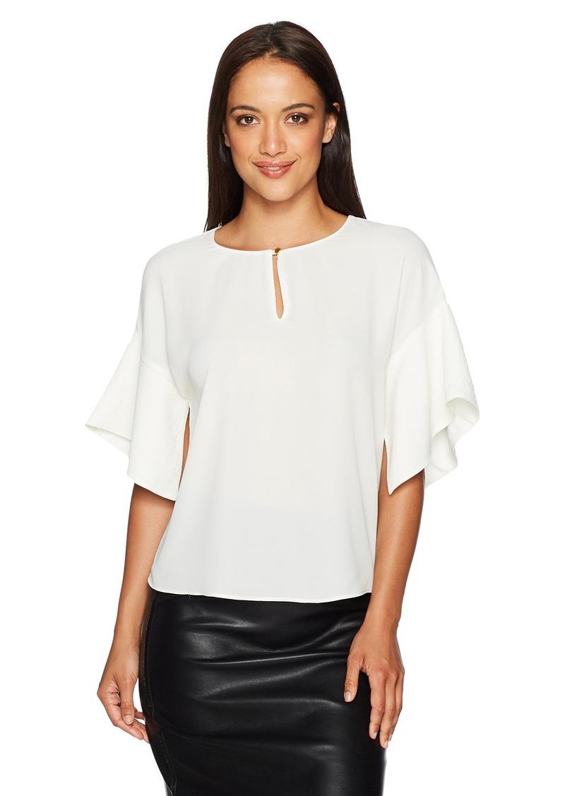 ELLEN TRACY Women's Handkerchief Sleeve Top el/Cream L