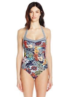 ELLEN TRACY Women's Hawaiian Punch Floral Tie Halter Mio One Piece Swimsuit