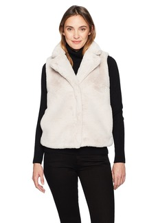 ELLEN TRACY Women's High Collar Faux Fur Vest  L