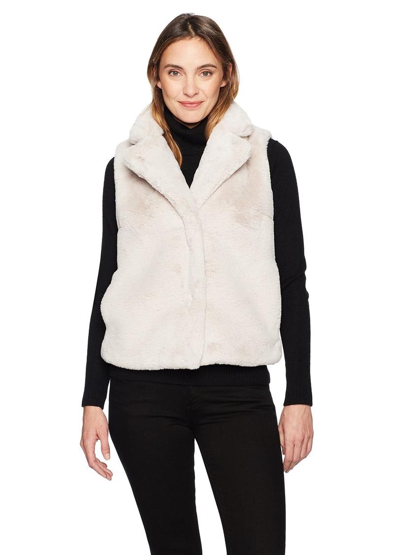 ELLEN TRACY Women's High Collar Faux Fur Vest  L