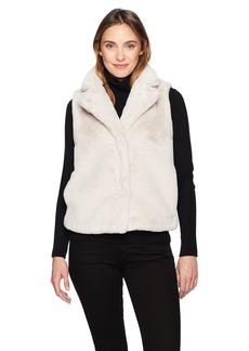 ELLEN TRACY Women's High Collar Faux Fur Vest  M