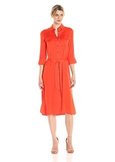 Ellen Tracy Women's High Slit Shirt Dress