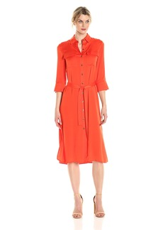 Ellen Tracy Women's High Slit Shirt Dress