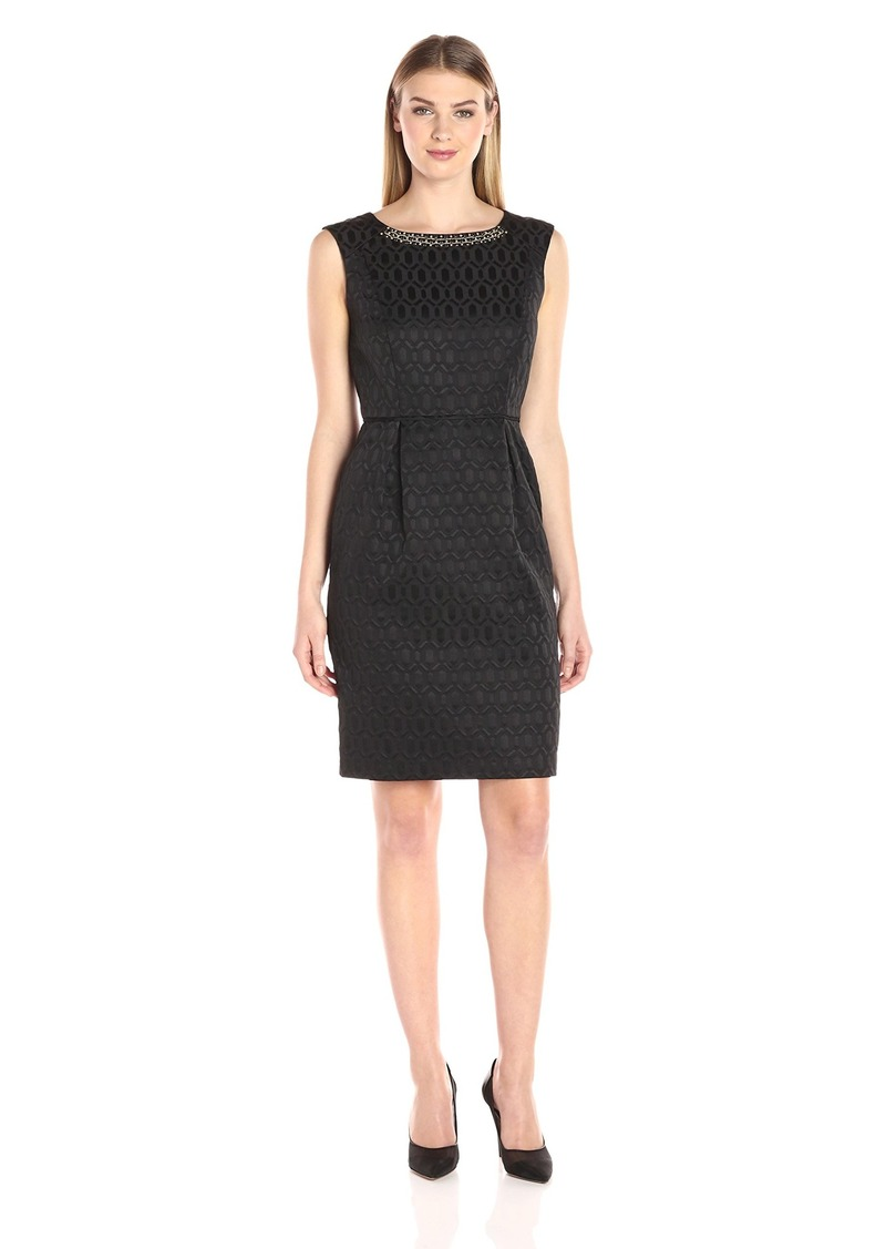 Ellen Tracy Women's Jacquard Sheath Dress with Neckline Embellishment