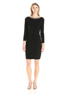 Ellen Tracy Women's Long Sleeve Jersey Dress with a Jeweled Neckine