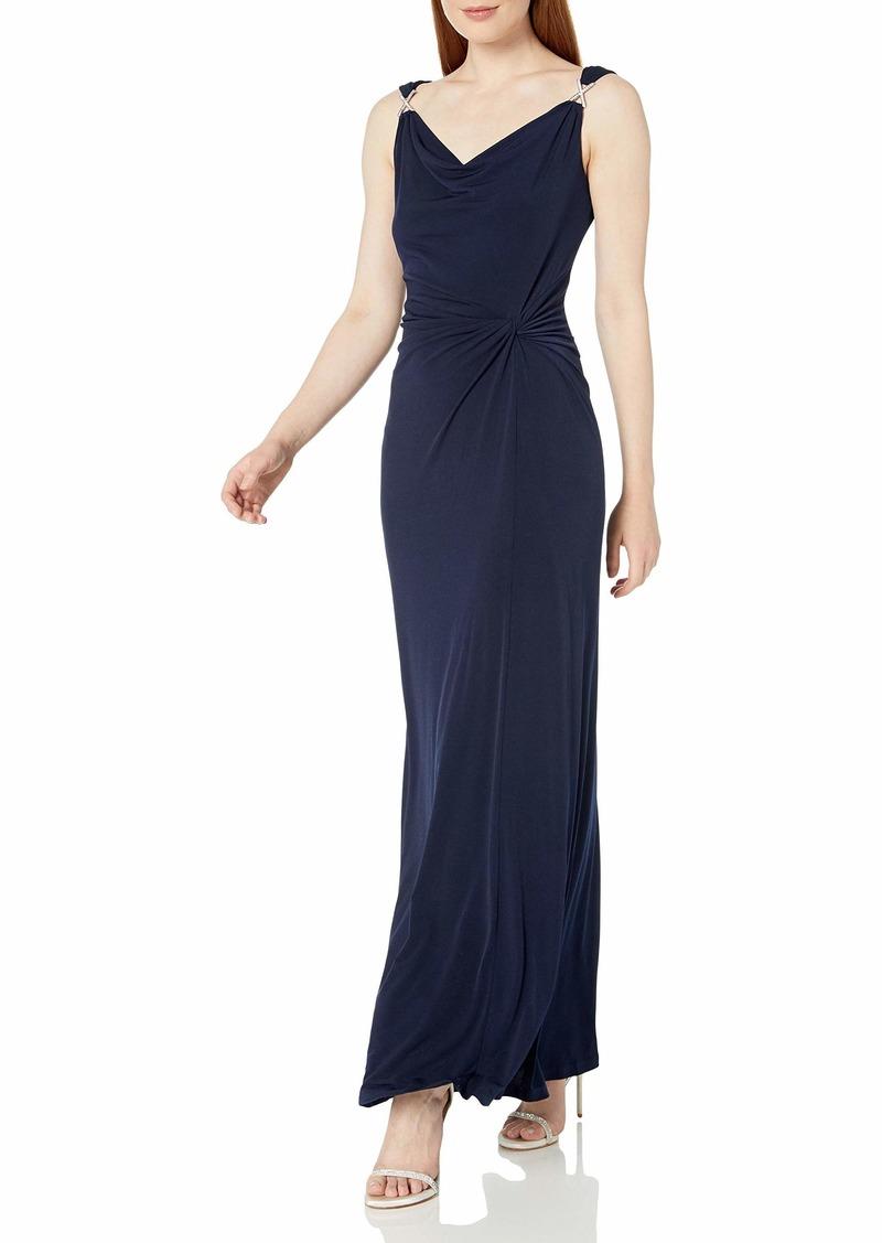 ELLEN TRACY Women's Jersey Dress with Rhinestone Strap Detail