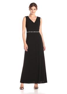 ELLEN TRACY Women's Jersey Gown with Rhinestone Belt