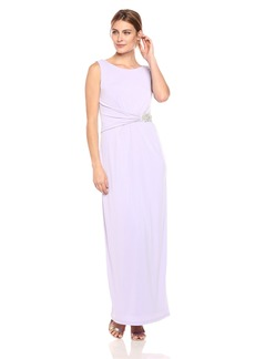 ELLEN TRACY Women's Jersey Gown with Rhinestone Detail iris