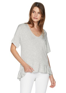 ELLEN TRACY Women's Knit Top W/Flouncy Hem  S
