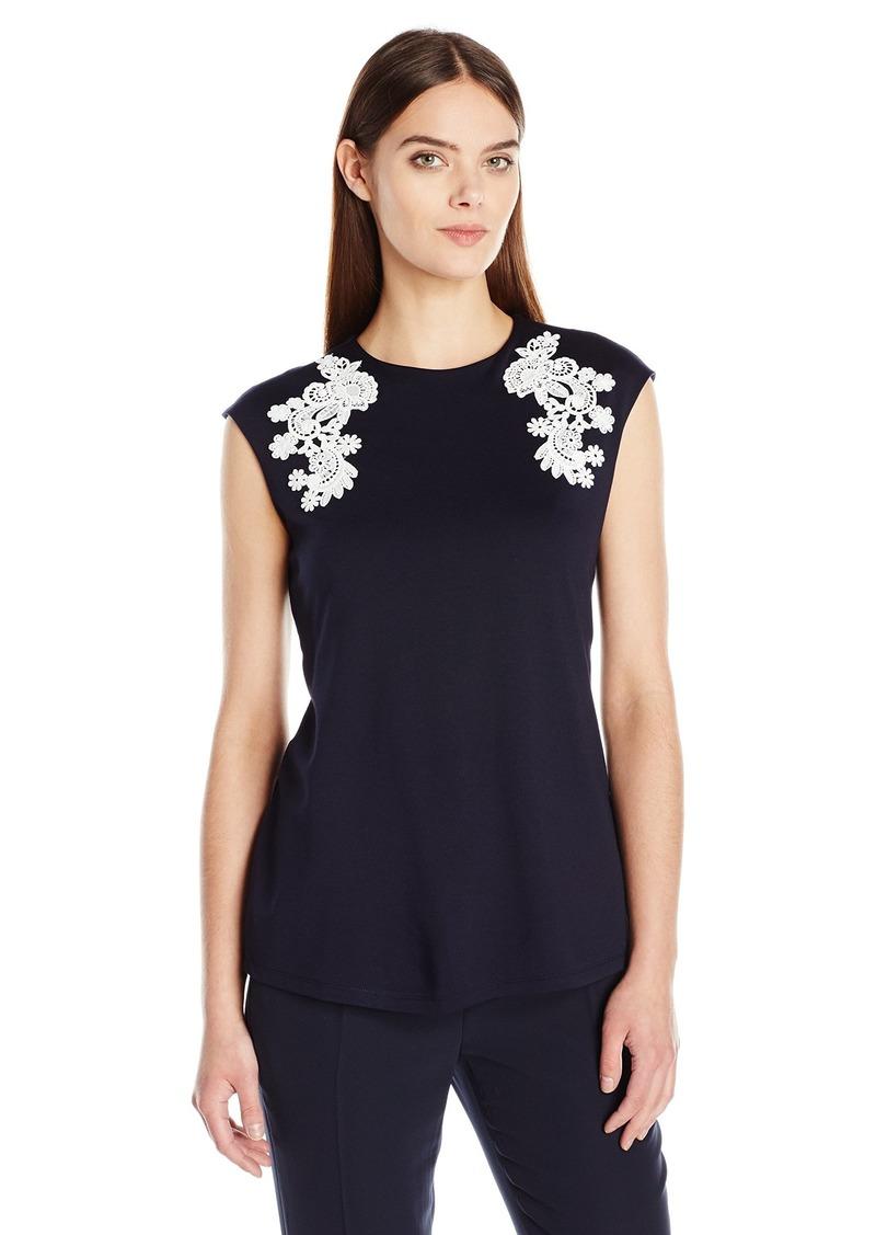 ELLEN TRACY Women's Lace Applique Top  L