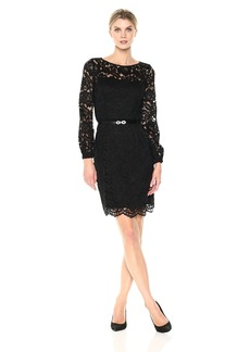 Ellen Tracy Women's Lace Dress with Bell Sleeves