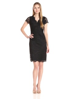 Ellen Tracy Women's Lace Dress with Scallopped Edges