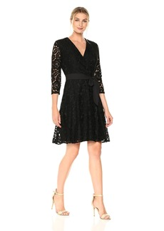 Ellen Tracy Women's Lace Faux Wrap Dress